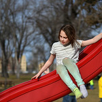 Justin Sheely | The Sheridan Press Eight-year-old Emmelyn Schasteen slides on the playground Wednesday at Kendrick Park. Sheridan residents enjoyed the extra hour of sunshine and a high temp ...