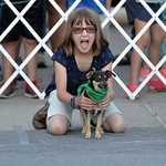 Justin Sheely | The Sheridan Press Kadia Miller holds her dog during the annual Wiener Dog Race at Black Tooth Brewing Company Tuesday, June 12, 2018. The event was hosted for the sixth year ...