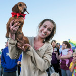 Justin Sheely | The Sheridan Press Casey Van Haele holds her winning dog Oscar during the annual Wiener Dog Race at Black Tooth Brewing Company Tuesday, June 12, 2018. The event was hosted f ...