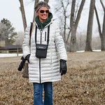 Justin Sheely | The Sheridan Press Joanne Puckett walks with her camera and binoculars during the Bighorn Audubon Society's monthly Birding at the Brinton event in Big Horn Saturday, March ...