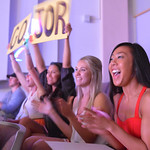 Justin Sheely | The Sheridan Press Supporters Teagan Young, front, and Ashlee Quarterman cheer for Miss South Central during the 2016 Miss Wyoming pageant Saturday night at the WYO Theater.  ...
