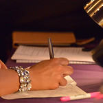 Justin Sheely | The Sheridan Press A judge writes on a score sheet during the 2016 Miss Wyoming pageant Saturday night at the WYO Theater. Miss South Central Jordyn Hall was crowned as the 2 ...