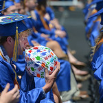 Justin Sheely | The Sheridan Press Wyatt Dobbs quietly inflates a ball during the 2016 commencement ceremony Sunday afternoon at Sheridan High School.