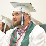 Jaxn Kobza smiles during a graduation address at the Tongue River High School commencement ceremony Sunday.