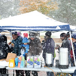 Matthew Gaston | The Sheridan PressHot coffee and pastries were provided to the dedicated supporters who braved the elements for the March Against Family Violence Saturday, Oct. 13, 2018.