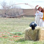 Matthew Gaston | The Sheridan PressArcher Toth, 6, ropes a sheep with help from BWC volunteer Turner Schroth during the 2019 BWC Community Easter Carnival & Egg Hunt Saturday, April 20,  ...