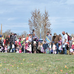Matthew Gaston | The Sheridan PressKids and their parents line up in anticipation of the Easter egg hunt at the Bethesda Whorship Center during the 2019 BWC Community Easter Carnival & E ...