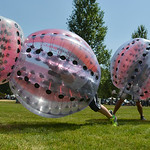 Justin Sheely | The Sheridan Press Players ram into each other for a game of knocker ball during the 40th annual Dayton Days Saturday in the town of Dayton. The upper-ninety-degree weather d ...