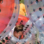 Justin Sheely | The Sheridan Press Kristen Masters falls down in her bubble ball for a game of knocker ball during the 40th annual Dayton Days Saturday in the town of Dayton. The upper-ninet ...