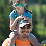 Justin Sheely | The Sheridan Press Antelope Butte Foundation volunteer Ryan White holds his daughter Finley White, 5, during the Summer Festival Saturday at Antelope Butte ski area. The Ante ...