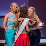 Justin Sheely | The Sheridan Press Sheridan's Taylor Greig, center, is congratulated by contestants Juliana Kelert, left, and Logen Livingston as Greig wins the Miss Wyoming's Outstandin ...