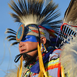 Justin Sheely | The Sheridan Press A dancer competes in the middle of the arbor during the grand entry powwow Saturday evening during Crow Fair at Crow Agency, Montana. Crow Fair started in  ...