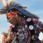 Justin Sheely | The Sheridan Press A dancer competes during the grand entry powwow Saturday evening during Crow Fair at Crow Agency, Montana. Crow Fair started in 1904 and is currently the l ...
