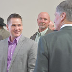 Ryan Patterson | The Sheridan Press Sen. Bo Biteman, R-Ranchester, left, talks with Wyoming Gov. Mark Gordon after an update about the Sheridan Economic and Educational Development Authority ...