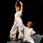 "Matthew Gaston | The Sheridan PressWhile recovering from his wounds in a hospital, Tunny, played by Marcel Bohlmann, meets an ""Extraordinary Girl,"" played by Ivy Harbour, during the dres ..."