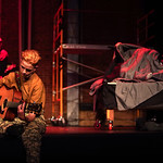 "Matthew Gaston | The Sheridan PressMarcel Bohlmann as Tunny adapts to life in the army while his old friend Johnny takes a tumble with Whatsername during the dress rehearsal for ""Green Day ..."