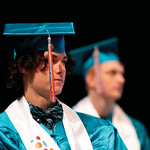 Matthew Gaston | The Sheridan PressNathaniel Haworth listens intently to speaker David Peterson's speech during the John C. Schiffer Collaborative School commencement Saturday, May 25, 201 ...