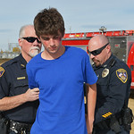 Justin Sheely | The Sheridan Press Tongue River High School student Jaren Fritz is arrested after failing a field sobriety test by Sheridan Police Officers during the Last Call Demonstration ...