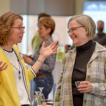 Justin Sheely | The Sheridan Press Janet Masters, left, and Laurie Walters-Clark visit during the 2017 FAB Women's Conference Friday at the Sheridan College Whitney Atrium. Tempe Murphy wa ...
