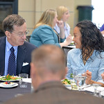 Justin Sheely | The Sheridan Press Mark Murphy and Melissa Mowry talk at the dinner table during the 2017 FAB Women's Conference Friday at the Sheridan College Whitney Atrium. Tempe Murphy ...