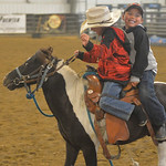 Justin Sheely | The Sheridan Press Eight-year-old Twister Fischer of South Dakota, left, and Brayden Fisher of Ashland, Montana, ride a pony prior to the performance of the Northern Plains I ...