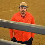 Justin Sheely | The Sheridan Press Bullfighter Wazey Spang waits as preparations are made in the bucking chutes prior to the performance of the Northern Plains Indian Rodeo regional finals S ...
