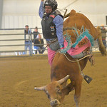 Justin Sheely | The Sheridan Press Boots Coyote Runs competes in Jr. Steer Riding during the performance of the Northern Plains Indian Rodeo regional finals Saturday at the Sheridan College  ...
