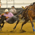 Justin Sheely | The Sheridan Press Kaden Whitebear competes in steer wrestling during the performance of the Northern Plains Indian Rodeo regional finals Saturday at the Sheridan College Agr ...