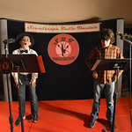 "Justin Sheely | The Sheridan Press Danny Magera, as Hobbleton, left, and Aiden Roth, as Rip, practice lines during a rehearsal Thursday for a Soundscape Radio Theater presentation of ""RIPâ ..."