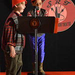 "Justin Sheely | The Sheridan Press Mason Smith, left and Raphael Eldridge, as Zeke and Zeb, talk during a rehearsal Thursday for a Soundscape Radio Theater presentation of ""RIP"" an adapt ..."