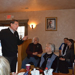 Justin Sheely | The Sheridan Press Sen. John Barrasso, R-Wyoming, speaks during the Chamber Coffee Discussion Wednesday in the Big Horn Smokehouse & Saloon at Big Horn. Several protesters tu ...