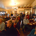 Justin Sheely | The Sheridan Press Attendees gather inside the Big Horn Smokehouse & Saloon during Sen. John Barrasso's visit for the Chamber Coffee Discussion Wednesday in Big Horn. Sever ...