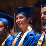 Justin Sheely | The Sheridan Press Seniors, from left, Kathryn Bammel, Wrylee Barnett, Bradley Bauder listen to the speaker during the class of 2018 commencement ceremony at Sheridan High Sc ...
