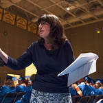 Justin Sheely | The Sheridan Press Commencement speaker Nancy Crowe walks up the aisle during her speech during the class of 2018 commencement ceremony at Sheridan High School Sunday, May 27 ...