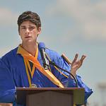 Justin Sheely | The Sheridan Press Paden Koltiska delivers the Salutatorian address during the 2017 graduation ceremony Saturday at Sheridan High School.