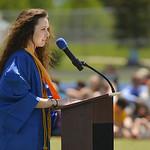Justin Sheely | The Sheridan Press Valedictorian Olivia Boley speaks during the 2017 graduation ceremony Saturday at Sheridan High School.