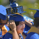 Justin Sheely | The Sheridan Press Bailey Bennett waits outside the field with the graduates during the 2017 graduation ceremony Saturday at Sheridan High School.