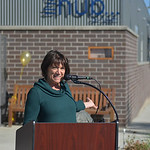 Justin Sheely | The Sheridan PressExecutive Director Carmen Rideout introduces the rebranded name of the former Sheridan Senior Center, now The Hub on Smith, during the grand unveiling and  ...