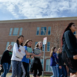 Justin Sheely | The Sheridan Press Middle school students return to class during the organized walkout at Sheridan Junior High School Friday, April 20, 2018. The students were issued unexcus ...
