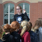 Justin Sheely | The Sheridan Press Middle school student organizer Piper Lieneman gives instructions as the students return to the school during the organized walkout at Sheridan Junior High ...