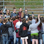 Justin Sheely | The Sheridan Press Student organizers, from left, Emerson Fuhrman, Grace Harper, Medora Perkins, Dulce Carroll and Piper Lieneman speak to the middle schoolers gathered durin ...