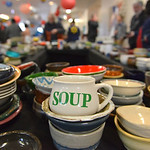 "Justin Sheely | The Sheridan Press Various bowls are displayed for guests to pick up during the ""Filling and Empty Bowl"" VOA soup fundraiser at the Sheridan County Fairgrounds Exhibit Ha ..."