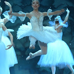 "Matthew Gaston   The Sheridan PressBallerina Zoe Marinello-Kohn leaps through the air as the Snow Queen during the dress rehearsal for ""The Nutcracker"" Wednesday, Dec. 4, 2019."