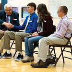 Matthew Gaston | The Sheridan PressU.S. Senator Mike Enzi, left, introduces himself to Tongue River Middle School student Dawson Richards, left center, before the start of the Veterans Day A ...