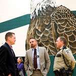 Matthew Gaston | The Sheridan PressState Senator Bo Biteman, left, talks with Sheridan County School District 1 Business Manager Jermey Smith, center and Deputy Boot Hill, right, prior to th ...