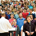 "Matthew Gaston | The Sheridan PressTongue River High School junior Kal Aksamit was one of two soloists to sing during the choir's performance of ""God Bless the U.S.A."" at the Veterans  ..."