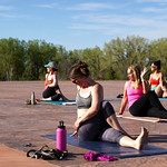 Matthew Gaston | The Sheridan PressFrom left, Kelli Johnson, Erin Lehman, Karol Meineke and Valery Notaro perform the final stretch before moving into shavasana during Yoga at The Brinton Tu ...