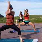 Matthew Gaston | The Sheridan PressYoga practitioners, from front to back, Kelli Johnson, Valery Notaro and Eric Zappa fall into perfect sync during the yoga flow at Kula Space's Yoga at T ...