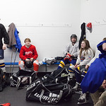 Tibby McDowell | The Sheridan Press Camdyn Cook hangs out in the boys locker room during a team meeting prior to practice at Whitney Rink at the M&M's Center Tuesday Feb. 20, 2018.