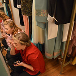 Justin Sheely | The Sheridan Press Riley Griffith, left, and Taylor Myers sit in a cubby with mirrors to finish their makeup in the dressing room during a full dress rehearsal for the WYO Th ...
